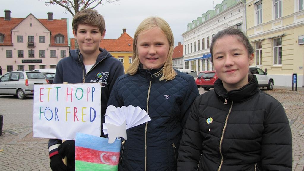 Emilia Svensson, Joakim Jeppson och Alexandra Paluziadu är några av eleverna från Parkskolan som manifesterade.