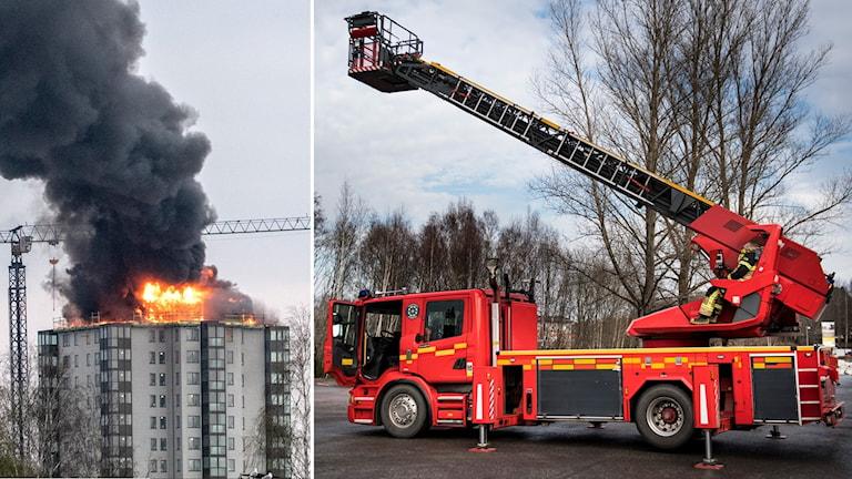 Brnaden i Falkenberg och stegbil