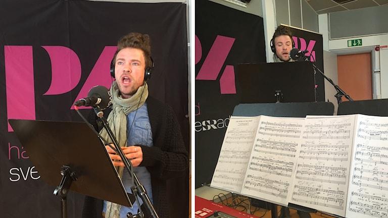 Mårten sjunger en låt från Fantomen på operan på två bilder ihopslagna till en. Ett notställ syns i förgrunden med noter.