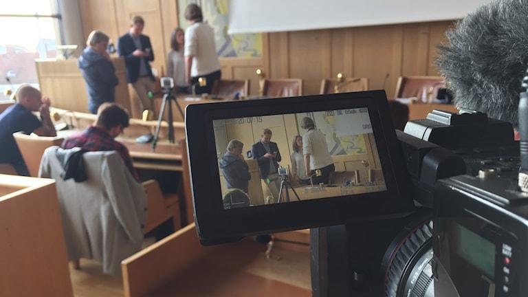 Per Svensson (S) håller presskonferens om Falkenbergs nya styre. Foto: Henrik Martinell/Sveriges Radio