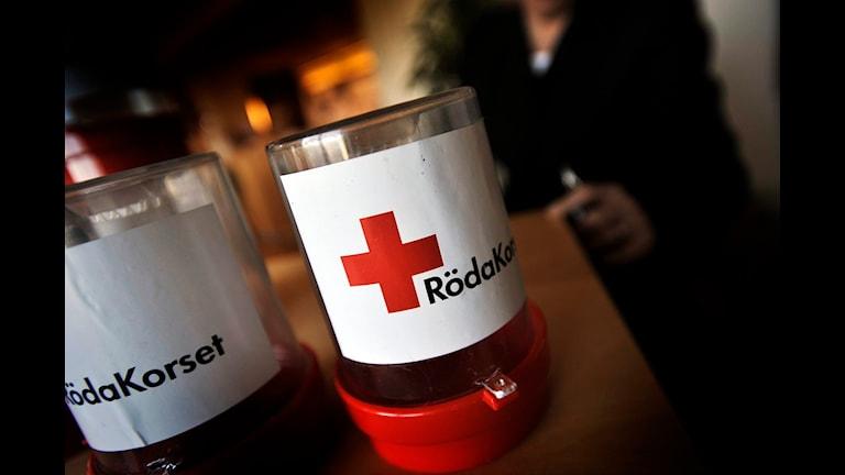 Röda Korsets insamlingsbössor. Röda Korsets insamlingsbössor. Foto: Yvonne Åsell/SR Halland