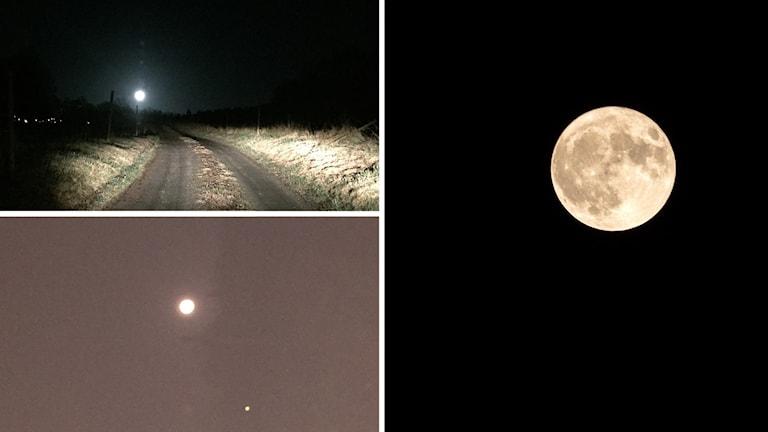 Tre olika bilder på supermånen