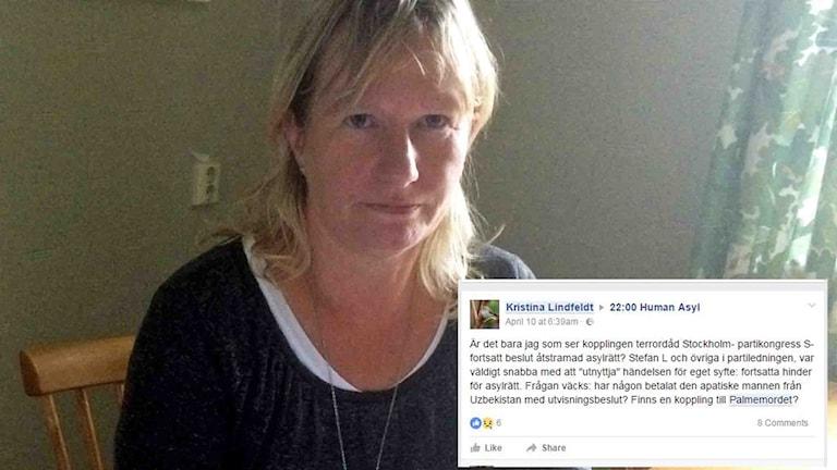 Kristina Lindfeldt har kritiserats för Facebookinlägg.