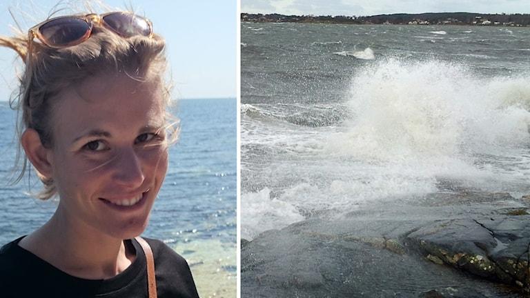 Kvinna står framför havet på ena bilden, på andra bilden syns ett stormande hav.