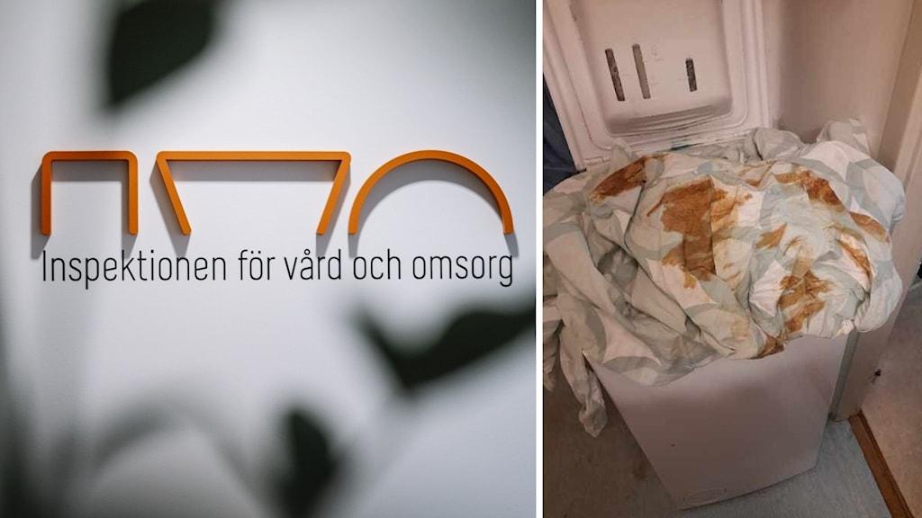 Splitbild med ivo till vänster och en tvättkorg med avföring på till höger.