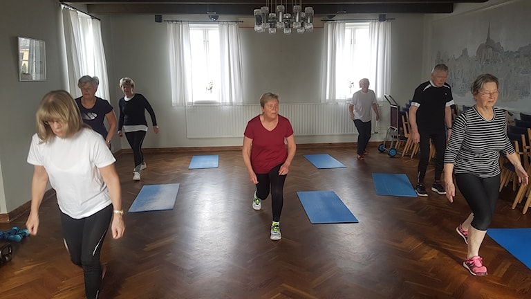 Seija Ågren, Eva Persson, Per Nilsson, Ingrid Myrberg, Majbritt Wester, Bodil Karlsson, Birgitta Pennman tränar hårt.