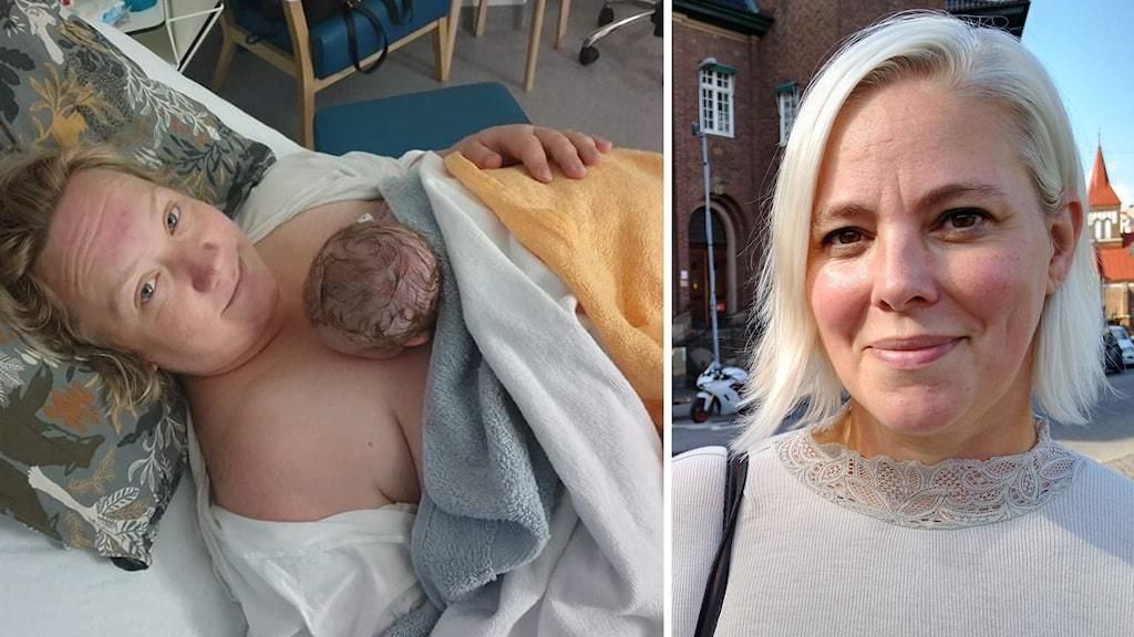 En kvinna som ler med en bebis på magen och en kvinna som ler och kollar in i kameran