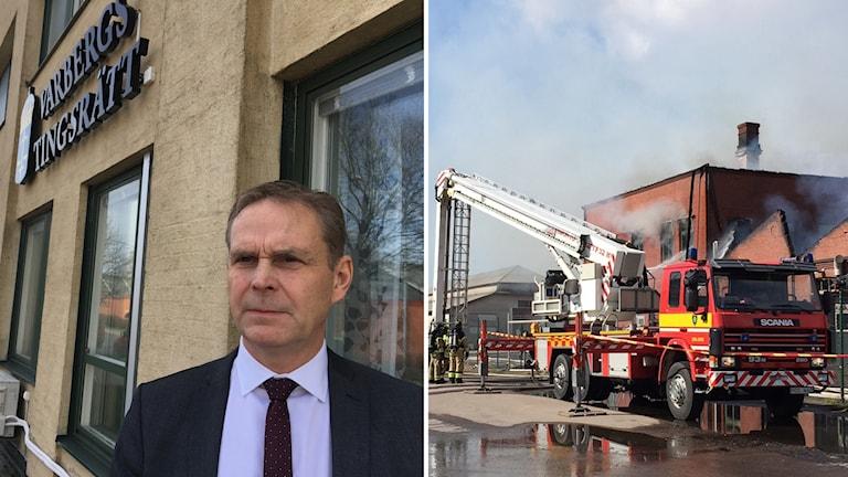Anders Ericson är försvarsadvokat vid tingsrätten i Varberg, brandbil, split