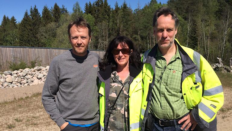 Mattias Olsson, faunaspecialist, Kristina Balot, projektledare Trafikverket, Mats Lindqvist, miljöspecialist Trafikverket.