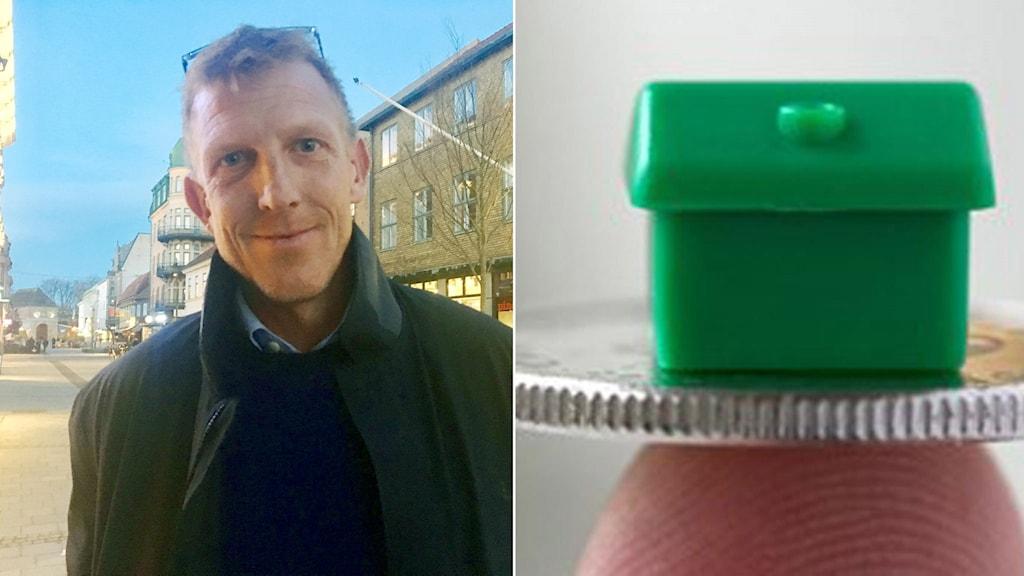 Delad bild, till vänster: Andreas Nilsson, mäklare från Halmstad. Till höger: Ett litet modellhus placerat på en enkrona.
