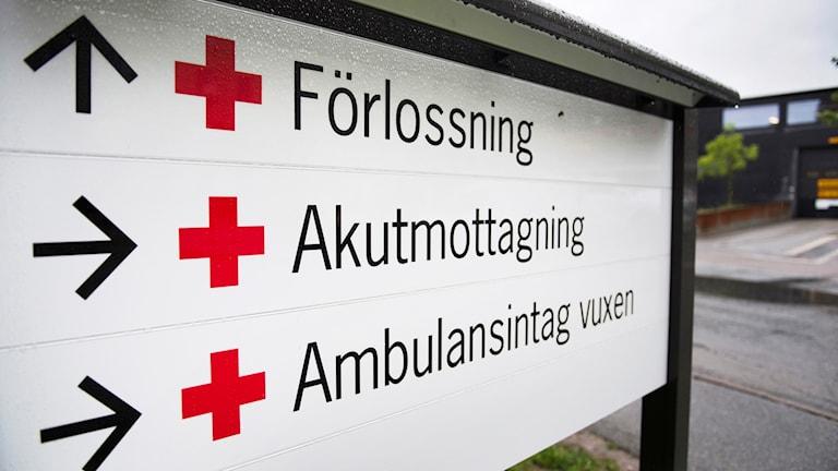 skylt mottagning sjukhus