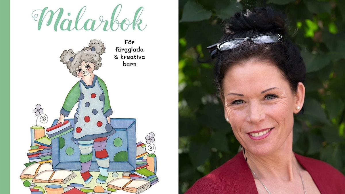 Åsa-Caroline Salmonsson och omslaget på hennes nya målarbok.