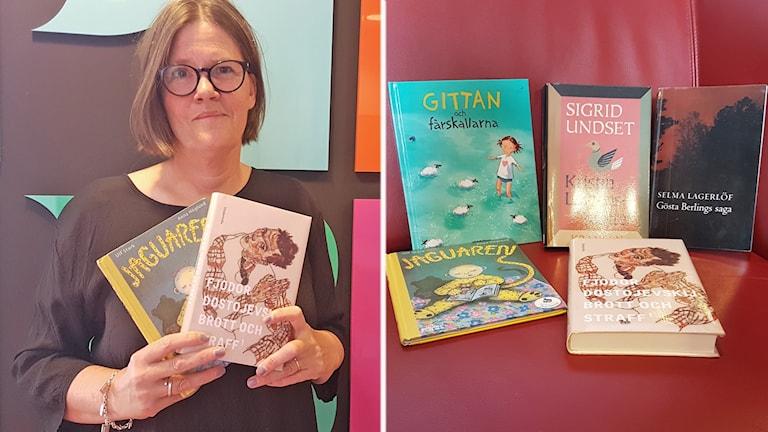 Bibliotekarien Jeanette Malm tipsar om bra sommarläsning i regnvädret