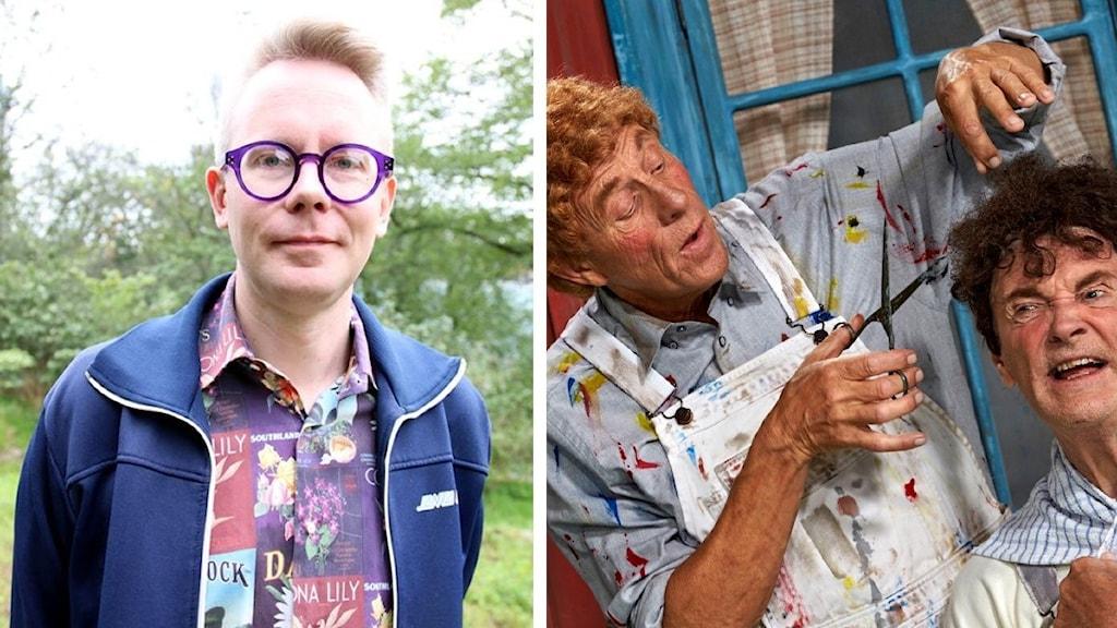 Splitbild med författaren Mikael Strömberg och en buskisföreställning.