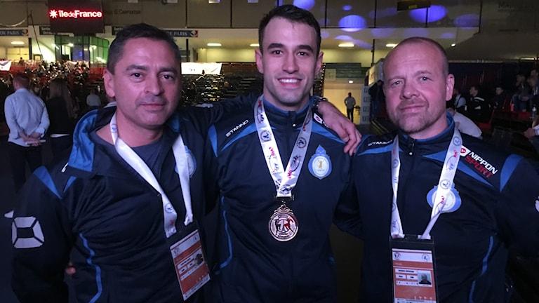 Andreas Gardasevic nöjd efter EM-guldet.