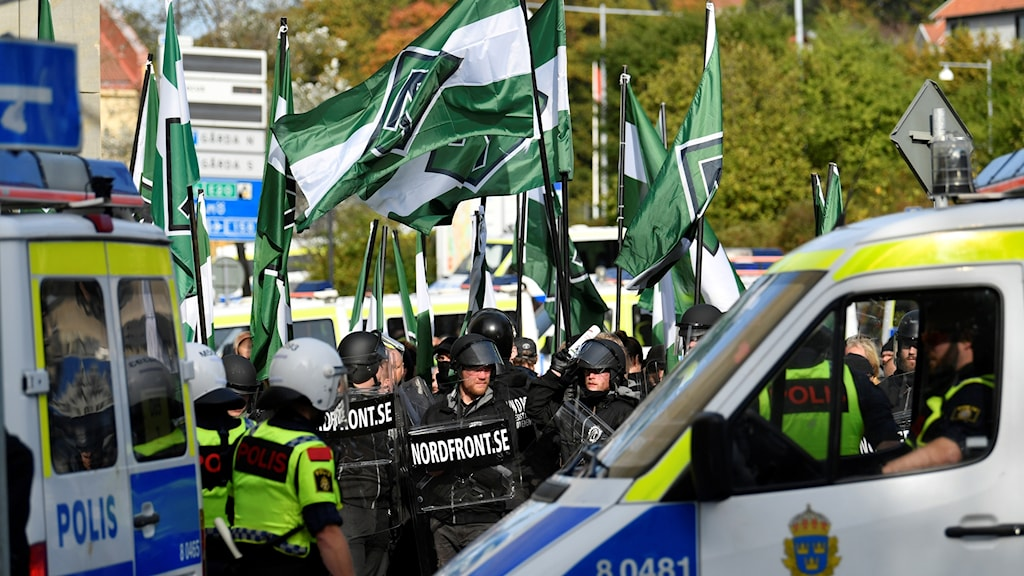 Nordiska motståndsrörelsens (NMR) demonstration i Göteborg 2017. Foto: Björn Larsson Rosvall/TT