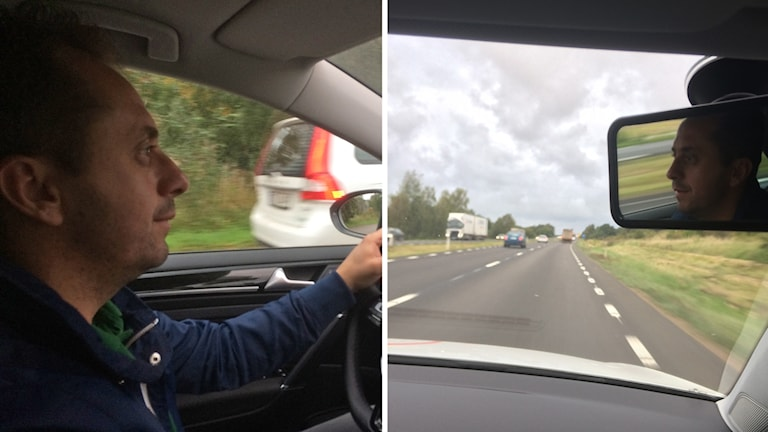 Argjend Jashari kör i en bil.