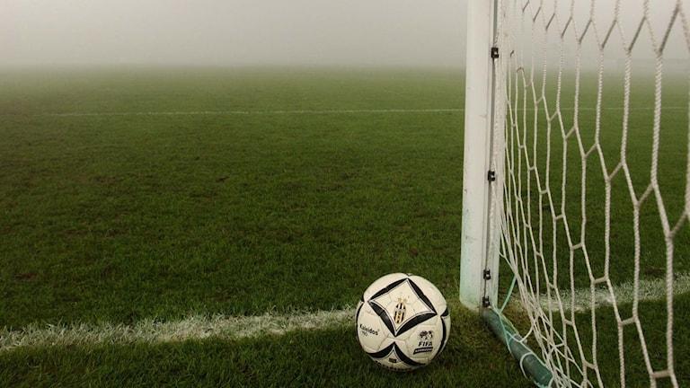 Fotboll som ligger på mållinjen i ett mål på en dimmig fotbollsplan. Foto: Alberto Ramella/TT.