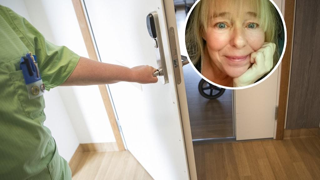 En blond kvinna tittar in i kameran samt en kvinna i grön tunika håller upp en dörr.