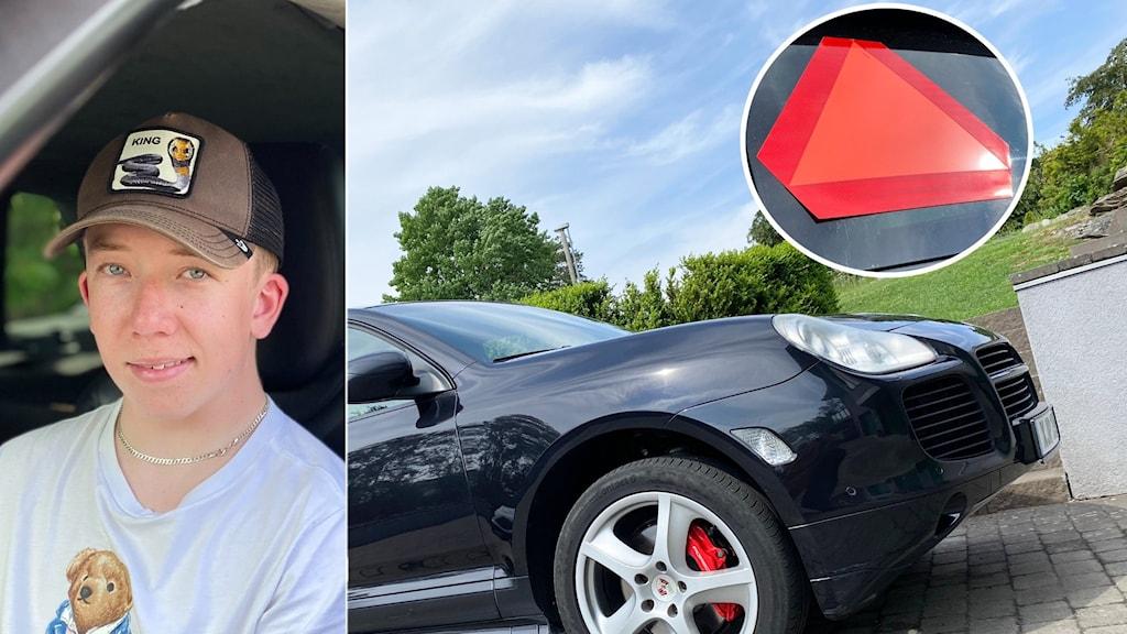 Philip gjorde om sportbilen till en A-traktor, här sitter han i den svarta bilen, bilden visar också en infälld röd triangel.
