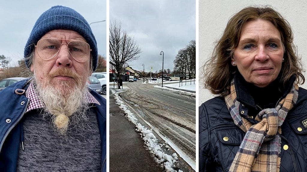 Tredelad bild, man i blå jacka, snöog väg och kvinna i svart jacka.
