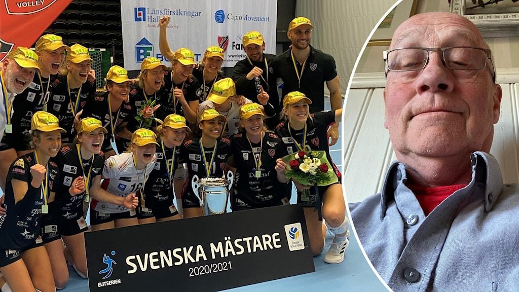 Hylte/Halmstads damer svenska mästare i Volleyboll. Till vänster: Porträttbild på en man. Bilden är tagen som en selfie.