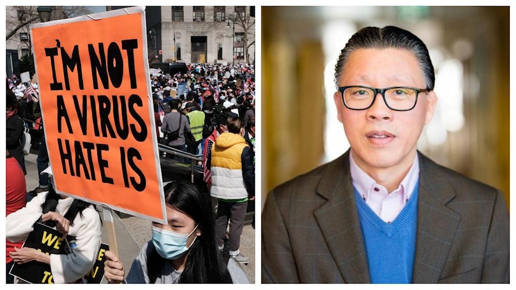 """En delad bild, från vänster kvinna hållandes ett plakat med texten """"jag är inte ett virus"""", till höger syns en man tittandes in i kameran."""