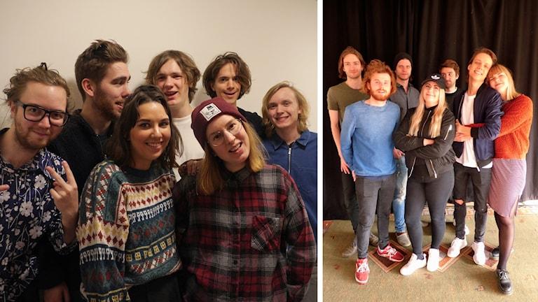 Splitbild på elever från Löftadalens folkhögskola