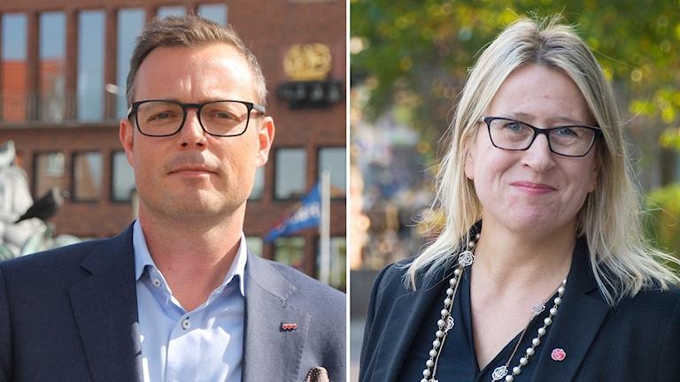 Till vänster Jonas Bergman (M) kommunstyrelsens ordförande. Till höger Krissi Johansson (S).