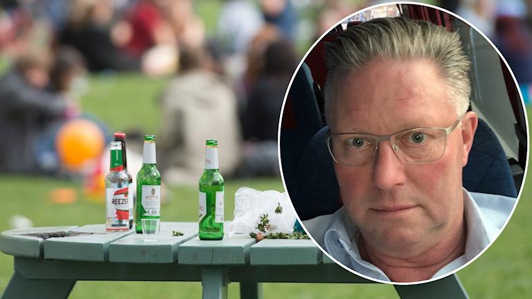 Ett bord med alkoholflaskor, ungdomar i bakgrunden. Utomhus. Porträttbild på rektor Roy Jörgensen, som tittar in i kameran.