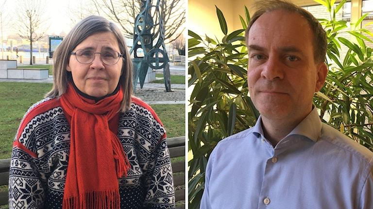 En delad bild på två porträtter. Till vänster en kvinna i utomhusmiljö och till höger en man i inomhusmiljö.