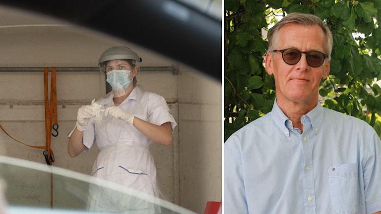 Till vänster: En person klädd i skyddsutrustning i bakgrunden, en person i en bil i förgrunden. Till höger: En man klädd i solglasögon och skjorta, står framför ett lövat träd.