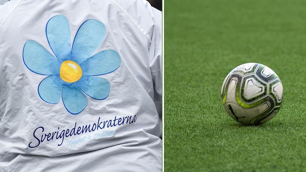 Sverigedemokrat intill fotboll