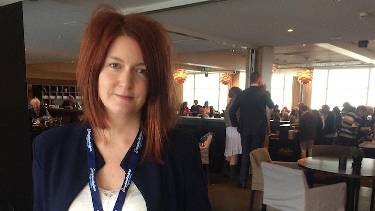 Johanna Palmelid (SD), en av toppkandidaterna i kyrkovalet, är på plats på partiets kyrkovalskonferens.