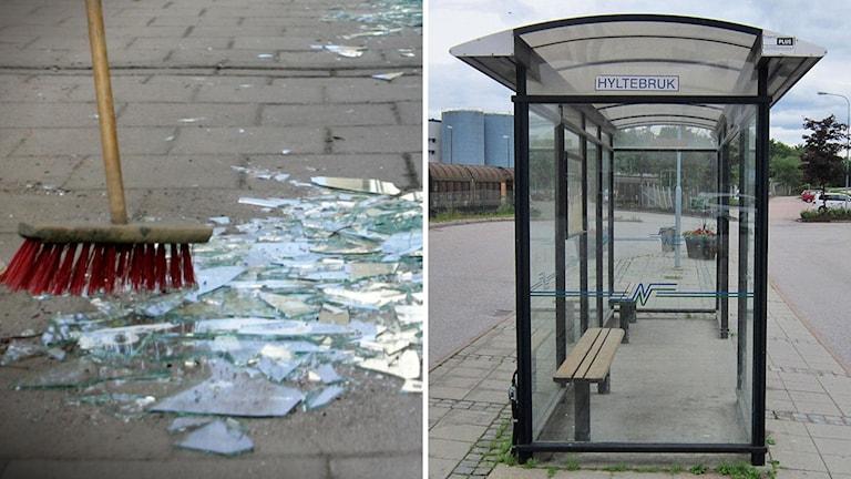 till vänster en bild på glaskross, till höger en bidl på en busskur i hylte