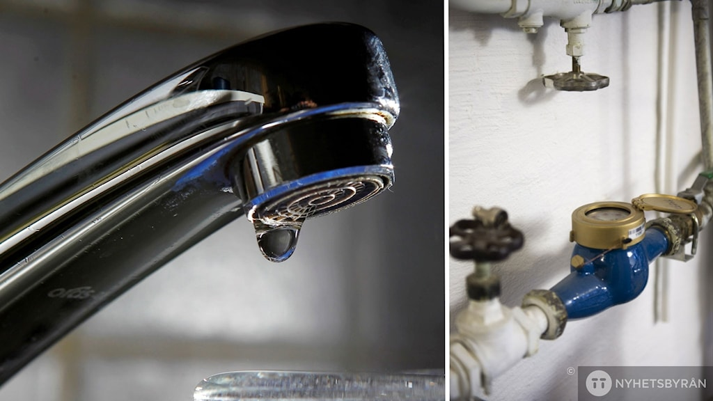 Droppande kran intill en vattenmätare