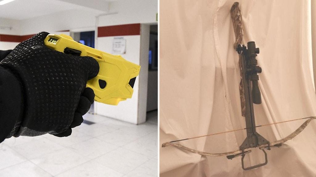 En en han d i svart handske håller i en gul elpistol samt ett armborst som ligger på ett lakan.