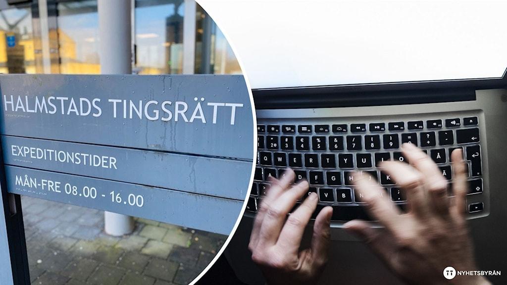 en skylt med texten Halmstad Tingsrätt och en bild på två händer över ett tagnentbord.