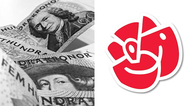 pengar, socialdemokraternas logga