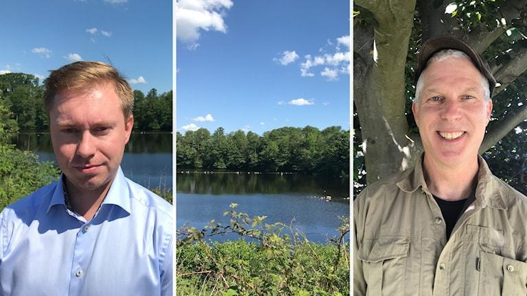Två porträttbilder på två män. I mitten skymtar en sjö och klarblå himmel med några molntussar.