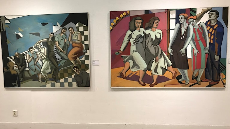 Tavlor från utställningen om Birgit Ståhl-Nyberg på Mjellby Konstmuseum utanför Halmstad.
