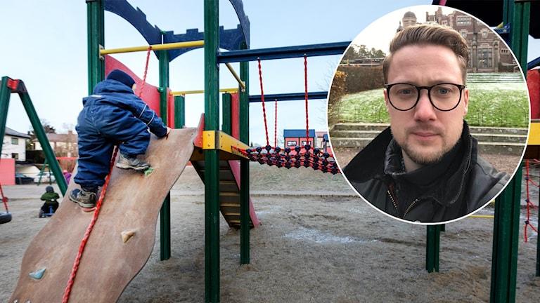 En arkivbild på ett barn som leker vid en lekplats och Andreas Thuve Almgrens som är infälld i en bubbla i högra hörnet.