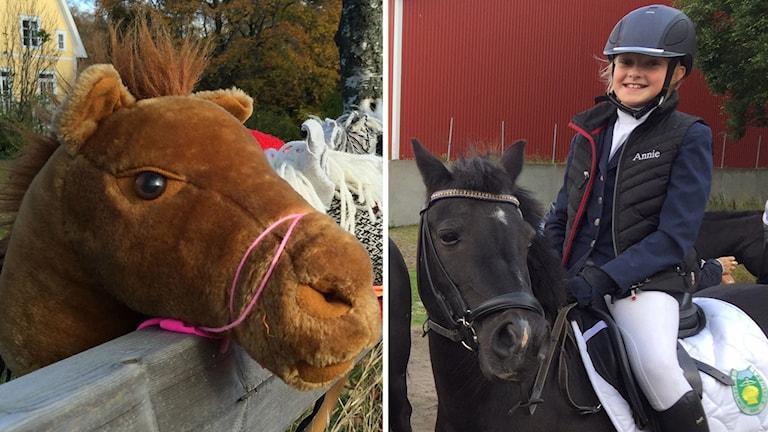 En ung tjej sitter på sin häst. Bredvid en bild på en käpphästs ansikte.