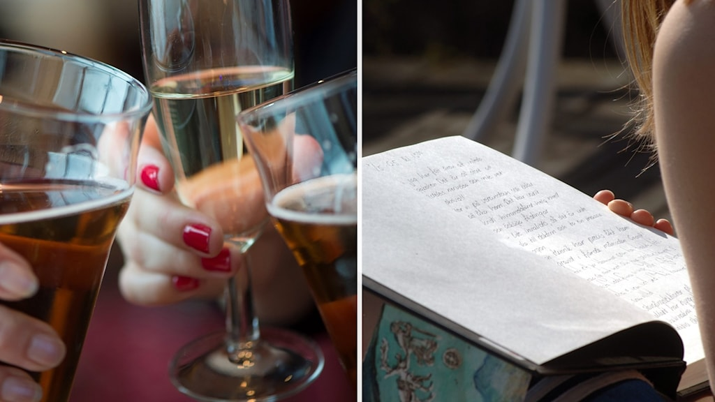 En tjej skriver i sin dagbok. Till vänster tre personer skålar.