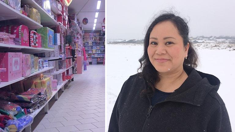 Till vänster: Hyllor med leksaker i olika färger. Till höger: Kvinna iklädd mörk fleecetröja står utomhus i snön.