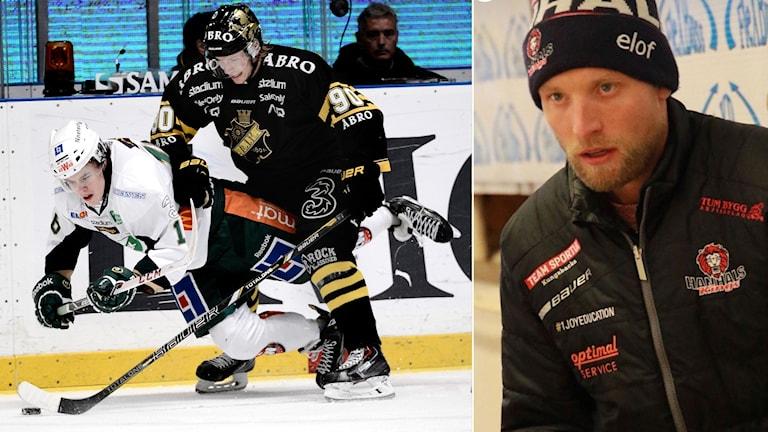 Till vänster: Christofer Aspeqvist ger färjestads Joakim Nygård en tackling i matchen mellan AIK och Färjestad i Svenska Hockey Ligan. Till höger: Andreas Elofsson tränare för spelare födda 2007 i Hanhals hockey.