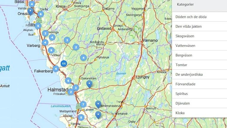 Man får många träffar på Halland på Sägenkartan. Till höger står de olika kategorierna av berättelser som finns.