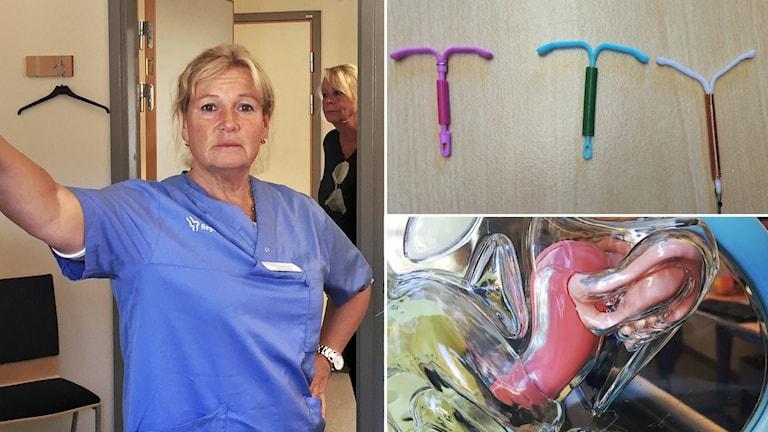 Barnmorska Eva Glamheden står i sitt mottagningsrum, man ser hormonspiraler, kopparspiraler och en modell av en livmoder.