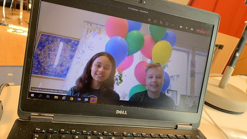 Zoe Truija Wellington och Felix Ekberg som tävlar för Gottskär grundskola
