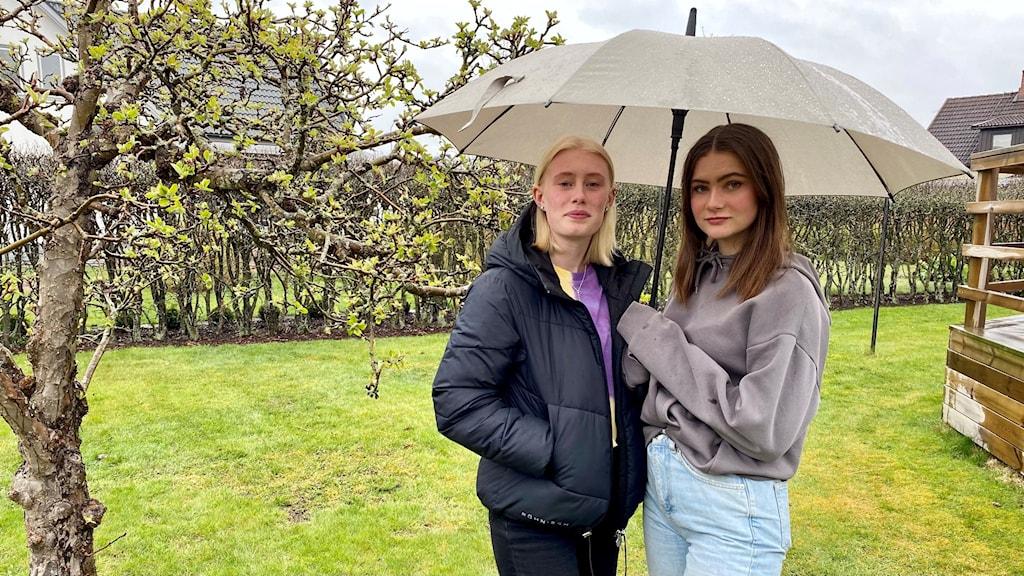 Två unga kvinnor under ett paraply.